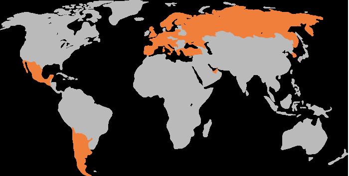 Hier unterrichtet die IMTA: Weltkarte der Kursorte